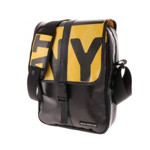 Messenger bag made from recycled banner tarps. Yellow and black