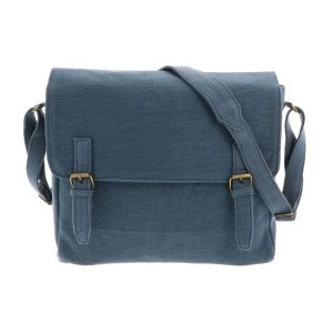 Shoulder bag of handwoven cotton - Bihan - slate blue