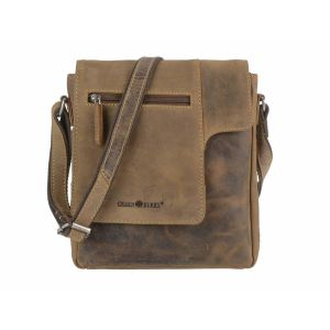 Medium shoulder bag with flap of brown vintage eco leather - Newark