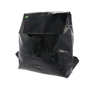 Waterproof backpack made from recycled black truck tarp