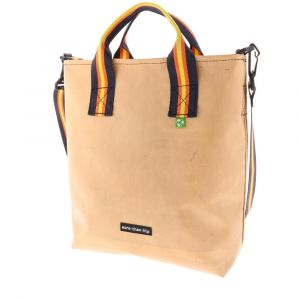 one of a kind shopper bag made from reused truck tarpaulins