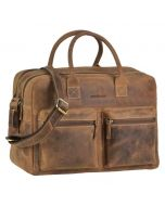 Austin - large workbag of brown eco-leather with 15,6 inch laptop compartment
