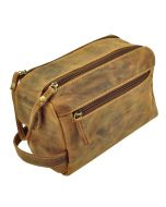 Oklahoma – toiletry bag of brown vintage leather