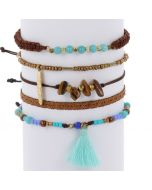 Ibiza inspired bracelet set - aqua brown