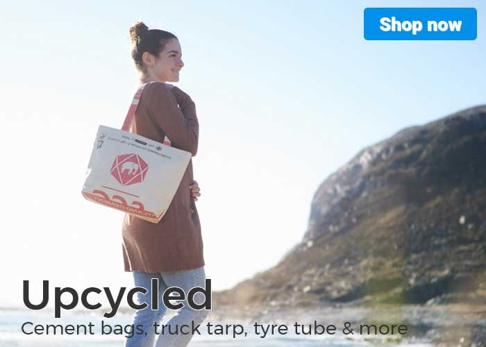 Upcycling cement bags, truck tarp, tyre tube and more
